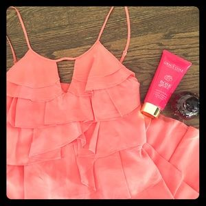 BCBG Coral 100% Silk Pleated Dress Size 0